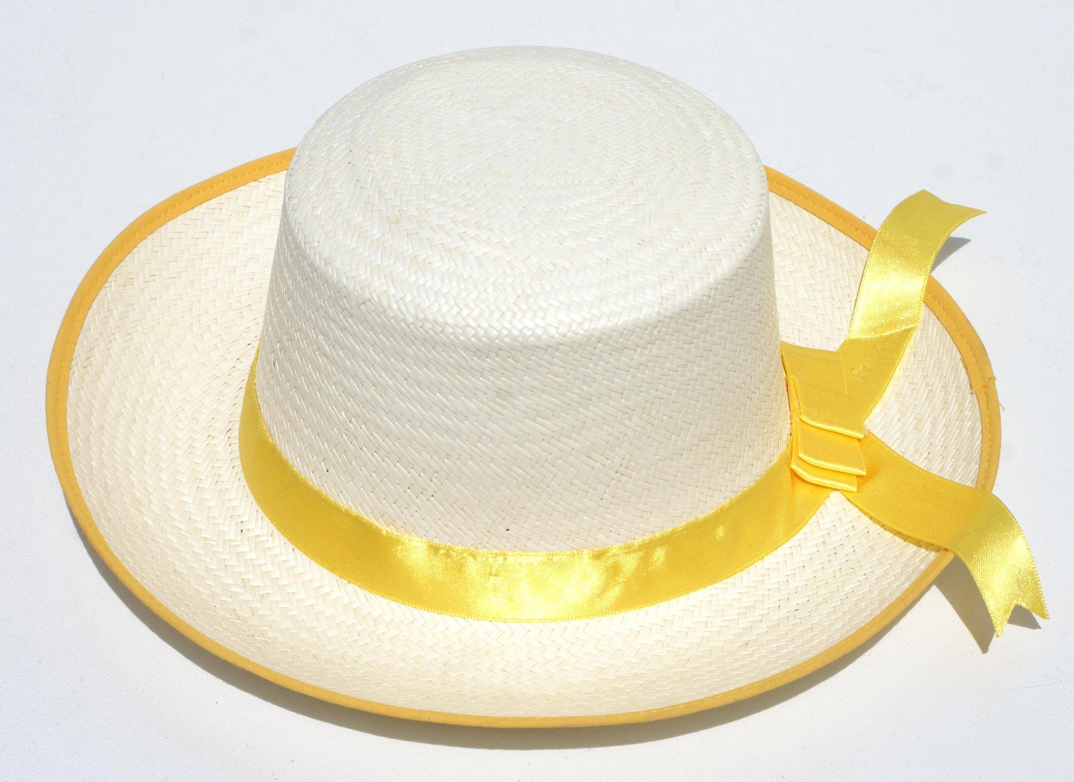 c7b2ff83baf3a sombrero blanco de cinta amarilla